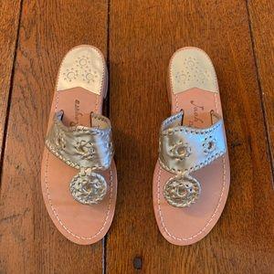 Jack Rogers Navajo sandals in platinum Size 6